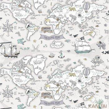 Papel de Parede Mapa, Animais Baby Charmed BB220304
