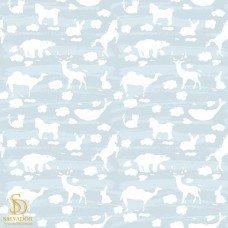 Papel de Parede por m2 Animais e nuvens branco e fundo azul