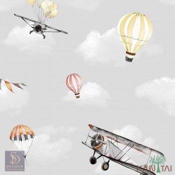 Papel de Parede Avião e Balão Hello Kids Ref. HK223501