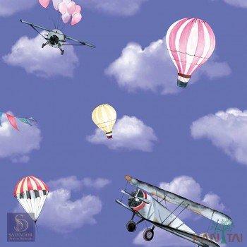 Papel de Parede Avião e Balão Hello Kids Ref. HK223502