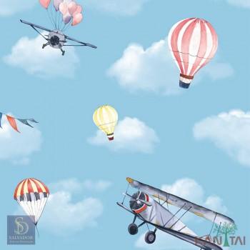 Papel de Parede Avião e Balão Hello Kids Ref. HK223503
