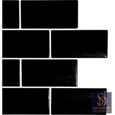 Pastilha Adesiva Azulejo de Metrô Black 26x32,5cm - MW002