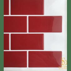 Pastilha Adesiva Azulejo de Metrô Red 26x32,5cm - MW006