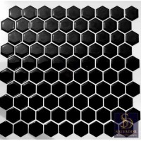 Pastilha Adesiva Resinada 26,3cmx28cm Hexagonal Black - HPR001