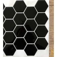 Pastilha Adesiva Resinada 24,5cmx29cm  Large Hex Black - LHPR001