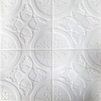 Painel 3D Arabesco Grego Branco Auto Adesivo 70x69 - Ref. 38600801B